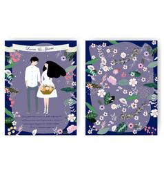 Cute couple cartoon sweet wedding card vector