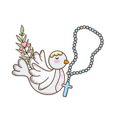 Cute dove bird with rosary vector
