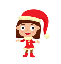 cute little christmas girl elf smiling vector image