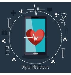 digital healthcare cardio app graphic design vector image