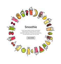 doodle smoothie in circle shape vector image