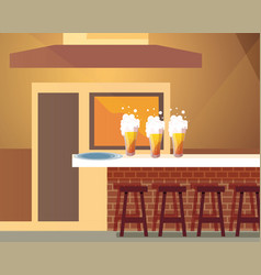 Drinking establishment and table with beer bottles vector