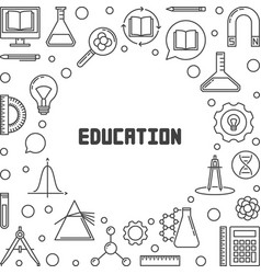 education concept minimal frame in thin vector image