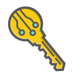 electronic key colorful line icon security access vector image