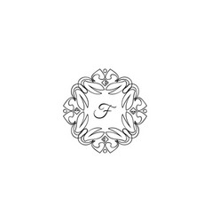 f letter logo monogram design elements line art vector image