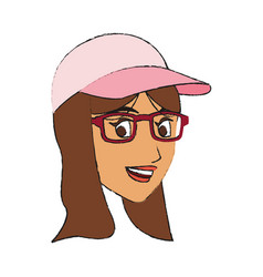 Face of pretty young woman with baseball hat and vector