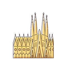 Famous barcelona landmark building - sagrada vector