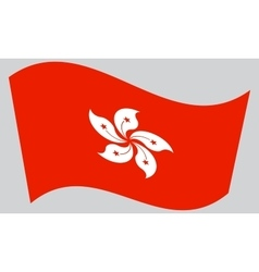 Flag of Hong Kong waving on gray background vector
