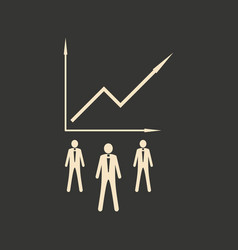 Flat in black white economic graph and people vector