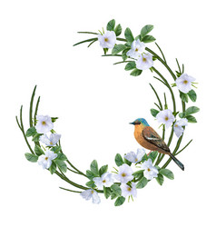 Floral wreath and bird vector