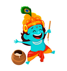 funny cartoon character lord krishna vector image