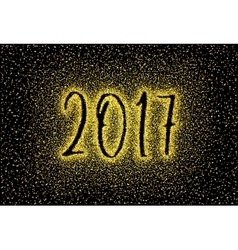 Glitter gold textured inscription 2017 vector