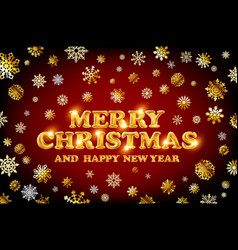 gold merry christmas and happy new year red vector image