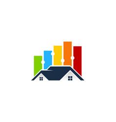 Graph house logo icon design vector