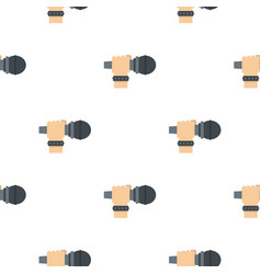 Hand microphone pattern seamless vector