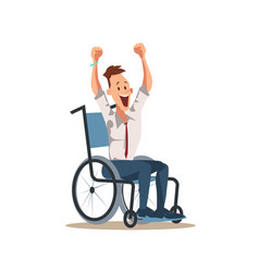 happy disabled male worker cheer with hand up vector image