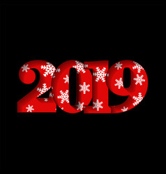 happy new year card red 3d number 2019 with white vector image
