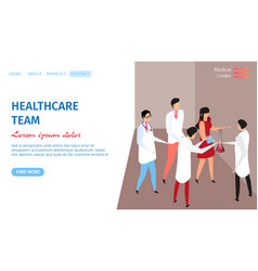 Healthcare team horizontal banner with doctors vector