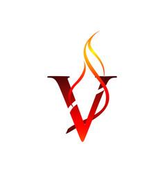 initial v letter flame logo design fire logo vector image