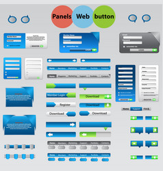large set of web panels buttons for your ideas vector image