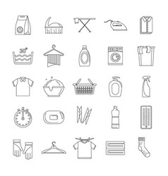 Laundry service icons set outline style vector