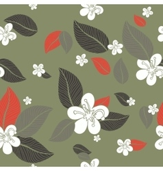 Leaves flowers seamless pattern background vector image