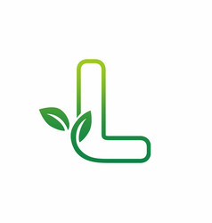 letter l leaf growing buds shoots logo icon vector image