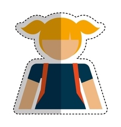 little girl student avatar vector image