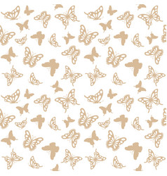 luxury seamless pattern with golden butterflies vector image