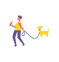 man walking with dog in park isolated cartoon icon vector image
