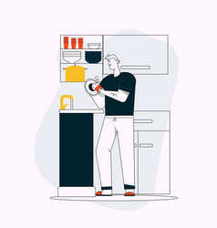 Man washes dishes in sink cleaning at kitchen vector