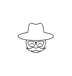 man with a mustache and a hat icon vector image