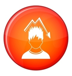 Man with falling red graph over head icon vector