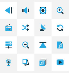Media colorful icons set collection of previous vector