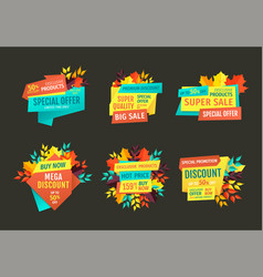 mega discount and super sale emblems with leaves vector image