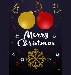 merry christmas - greeting card vintage vector image