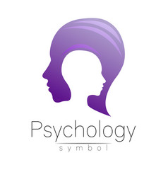 Modern head logo of psychology profile human vector