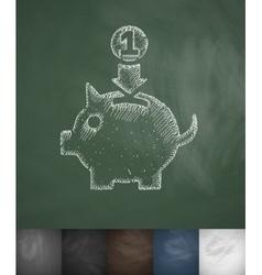 Money box icon Hand drawn vector