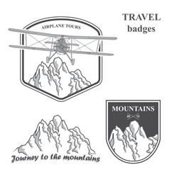 Mountains and plain set vintage airplane vector