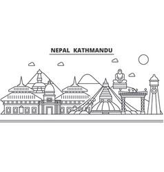 Nepal kathmandu architecture line skyline vector