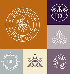 Organic product label in outline vector