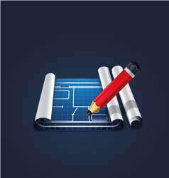 pencil with blue roll paper vector image