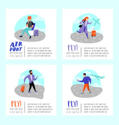 people traveling plane characters in airport vector image
