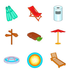 pool icons set cartoon style vector image