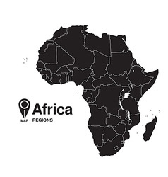 Regions map of Africa silhouette vector image