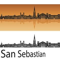 San Sebastian skyline in orange background in vector