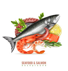 seafood salmon realistic composition vector image
