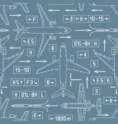 Seamless aviation pattern with airplanes and vector