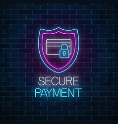 secure payment glowing neon sign payment vector image