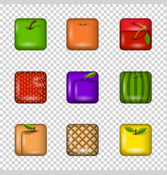 set app icons-fruits on transparent background vector image